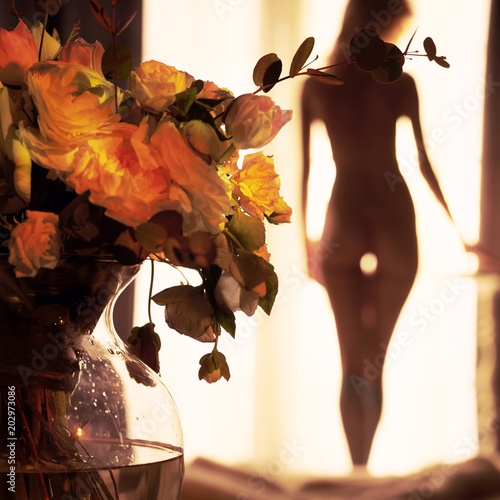 Canvas Women Art Sensual blonde at the window