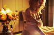 Leinwanddruck Bild - Sensual blonde in her boudoir