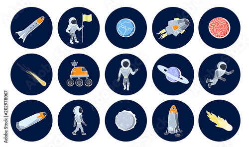 Set of vector illustrations of space objects