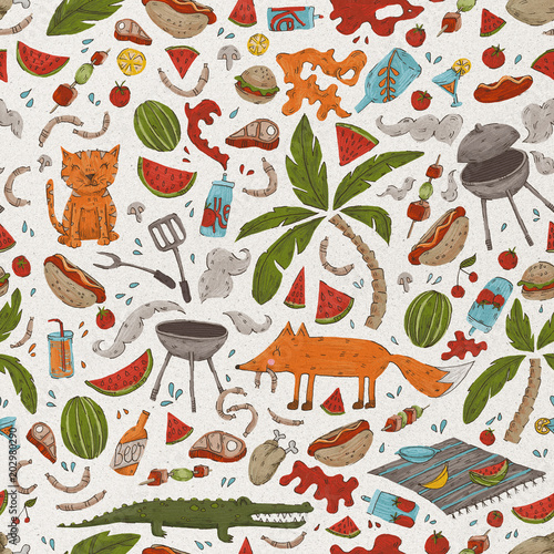 Summer cookout in the backyard, seamless pattern - 202980290