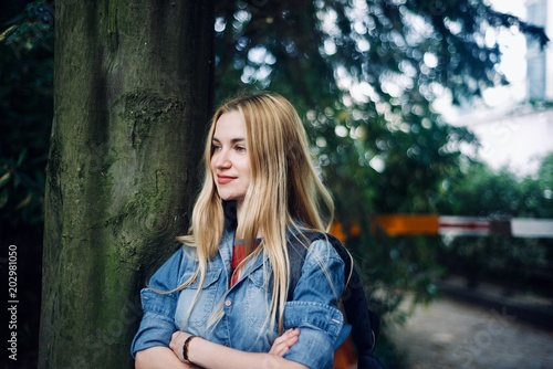 Girl tourist walking in the tropical forest - 202981050