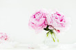 Fresh bunch of pink peonies on white wooden background