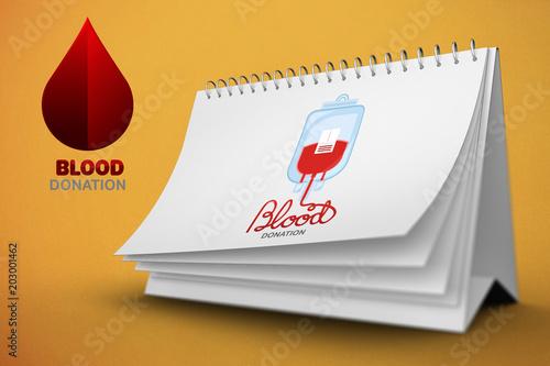 Blood donation against orange background