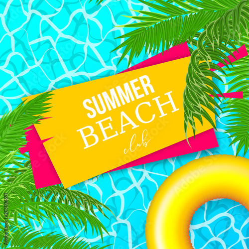 Colored palm leaf Hello summer vacation poster. Sea water pool waves vector background illustration. Travel tropical relax spa banner. Clear underwater template.