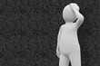Quadro White character thinking against grey background