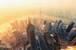 Quadro Shanghai aerial view at sunset