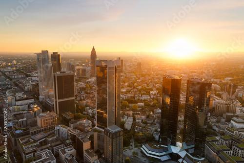Obraz na płótnie Frankfurt skyline at sunset. Germany