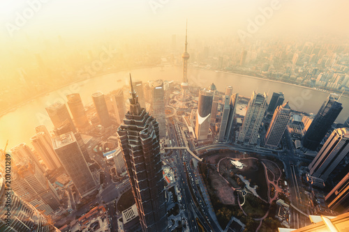 Shanghai aerial view at sunset