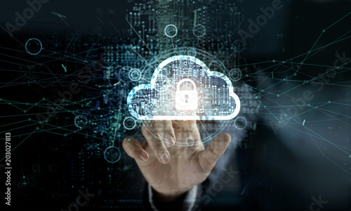 Fototapeta Businessman touching Cloud with Padlock icon on network connection, digital background. Cloud computing and network security concept