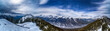 Panoramic view of Banff town site and surrounding mountains, as seen from Sulphur Mountain, Banff National Park, Canada