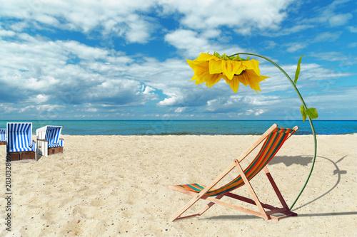 Fotobehang Zanzibar Liegestuhl mit Sonnenschirm am Strand