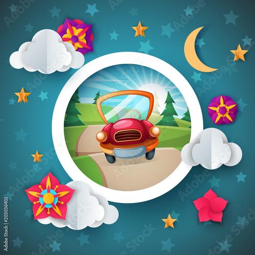 Fotobehang Auto Cartoon landscape. Car illustration. Flower, cloud moon star Vector eps 10