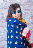 young brunette with american flag - 203057834