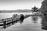 Traditional chinese bridge and pavilion on Hangzhou lake, China - Black and white - 203058051
