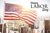 Poster of happy labor day text against aerial view of new york