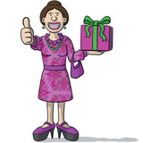 cartoon character with gift in hand