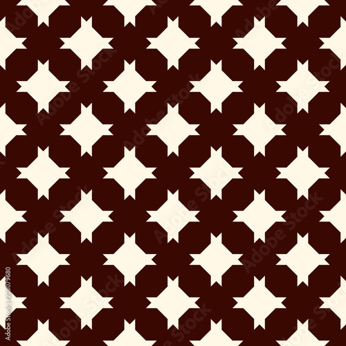Outline seamless pattern with stylized repeating stars. Simple geometric ornament. Modern stylish texture.