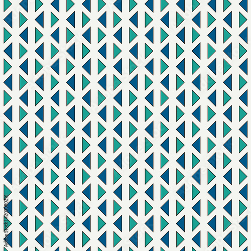 Repeated triangles on white background. Simple abstract wallpaper. Seamless pattern design with geometric figures.