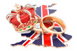 Royal wedding concept. Wedding rings with royal crown on the British map, 3D rendering - 203082872
