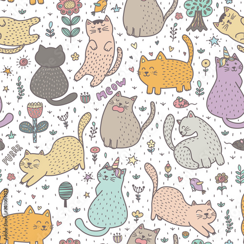 fototapeta na ścianę Cute cats in the summer seamless pattern. Great for cards, invitations, fabric and textile. Vector illustration