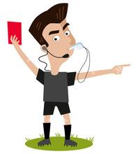 Fußball Cartoon Streng Blickender Schiedsrichter Pfeift Gibt Rote Karte Und Zeigt Nach Draußen Sticker