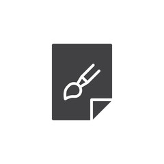 Graphic image file vector icon. filled flat sign for mobile concept and web design. Paper with paint brush simple solid icon. Symbol, logo illustration. Pixel perfect vector graphics
