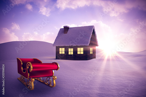 Plexiglas Purper Red and gold santa sleigh against snowy landscape with fir trees