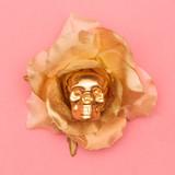 Fashion skull and rose. Flat lay minimal art