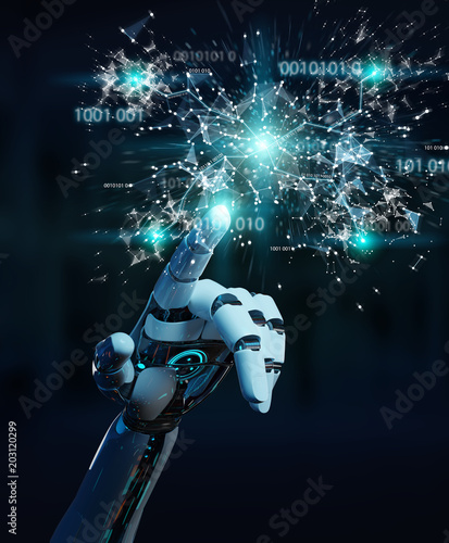 White humanoid hand using digital globe hud interface 3D rendering © sdecoret