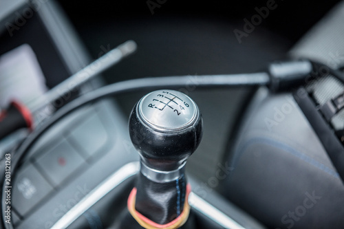 Old manual transmission handle of automobile from nineties