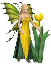 Blonde Haired Yellow Tulip Fairy  Fantasy Illustration Sticker
