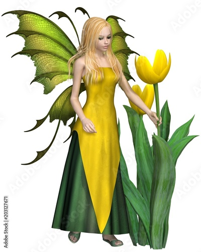 Blonde Haired Yellow Tulip Fairy - fantasy illustration - 203127671