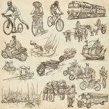 Transport, Transportation around the World - An hand drawn collection. Freehand sketching. - 203135604
