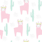 Cute pink llama with floral wreath seamless pattern. Vector hand drawn illustration. - 203138043