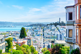 High Angle View of San Francisco Skyline from Lombard St showing Fisherman's Wharf and Coit Tower in North Beach