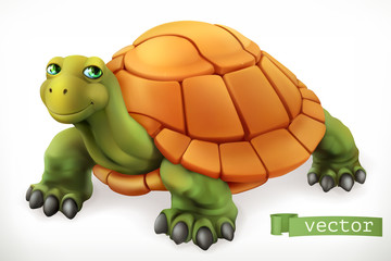 Funny turtle. 3d vector icon
