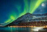 Aurora borealis over  fjord town Seydisfjordur, Iceland - 203158032