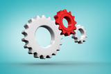 Composite image of White and red cogs and wheels against blue vignette - 203164237