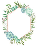 Watercolor Floral Geometric Frame - 203164410