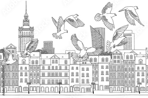 Birds over Warsaw - hand drawn black and white illustration of the city with a flock of pigeons - 203169847