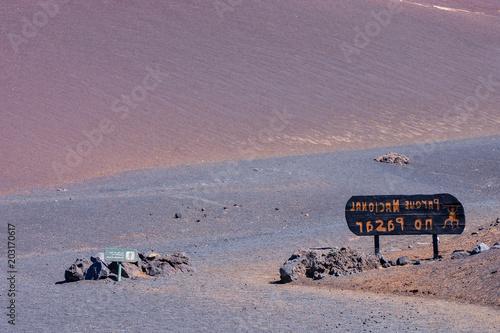 Fotobehang Lavendel Volcanic landscapes on Timanfaya.