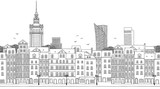 Warsaw, Poland - Seamless banner of the city's skyline, hand drawn black and white illustration - 203171881