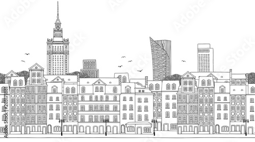 Warsaw, Poland - Seamless banner of the city's skyline, hand drawn black and white illustration