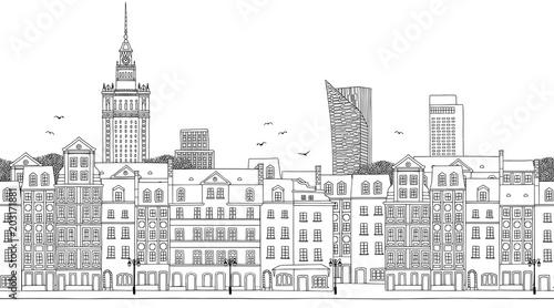 Fototapeta Warsaw, Poland - Seamless banner of the city's skyline, hand drawn black and white illustration
