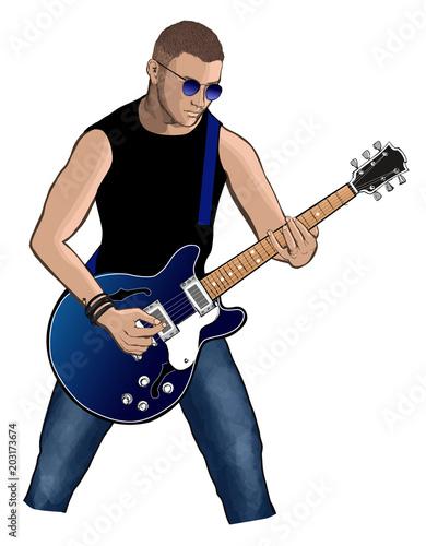 Fotobehang Art Studio Guitar player with blue electric guitar