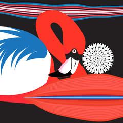 Graphics Poster beautiful red Flamingo