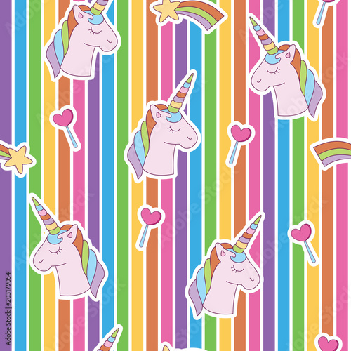 Materiał do szycia Vibrant edgy unicorn head, rainbow, heart random. A playful, modern, and flexible pattern for brand who has cute and fun style. Repeated pattern. Happy, bright, and magical mood.