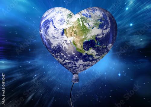 Fototapeta Heart shaped earth against outer space