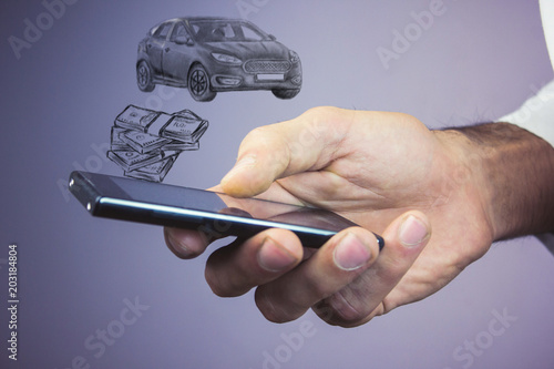 Wall mural Money and business concept car