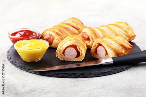 Fototapeta sausage in the dough